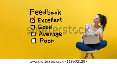 Feedback with young woman using a laptop computer  #1196021287