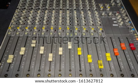 feeder control panel. control room. radio studio.