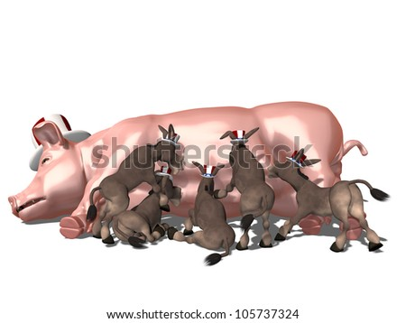 Feeding on Government Pork:.  A group of Democrat donkeys feeding off of a government political pig, wearing a red, white, and blue hat.  Political humor. - stock photo