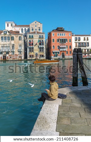 Feeding the gulls on the waterfront of the Grand canal - Venice, Italy #211408726
