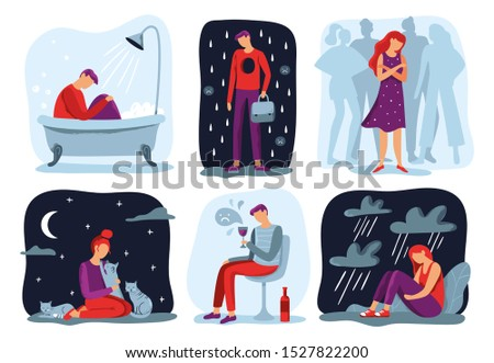 Feel loneliness. Feeling lonely, sad depressive person and social isolation. Depressed, sadness and sorrow crying girl, loneliness cat woman or melancholy young boy.  illustration icons set