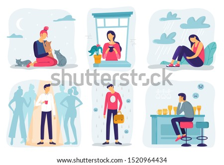 Feel lonely. Loneliness feelings, feeling isolated and fear of being alone. Frustration teenager, abuse guilty expression or bullying upset depression character. Mental health  illustration set