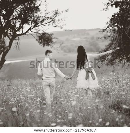 Feel of freedom. Happiness of newlyweds.