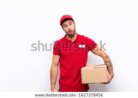 feeling puzzled and confused, with a dumb, stunned expression looking at something unexpected. delivery concept