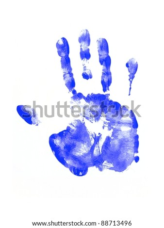 Feet and hand prints on a white background