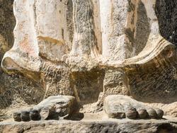 Feet and toes of a stone buddha at the ancient buddhist temple of Buduruwagala, Sri Lanka