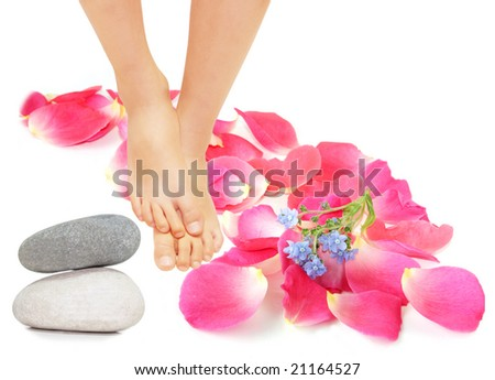 feet around by rose petals, forget me not flower and stone
