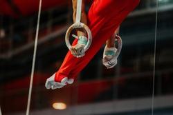 feet athlete gymnast still rings exercise in gymnastics