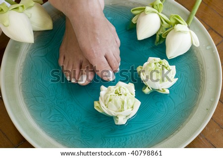 Feet enjoy a relaxing aromatherapy foot spa with Lotus flowers