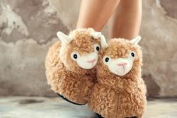 feet female wearing cute llama trendy slippers soft pastel colours beige