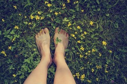 Feet in grass on meadow with flowers