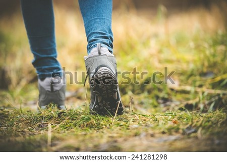 feet in shoes on a forest path #241281298