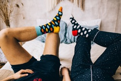 feet in socks. Holiday concept