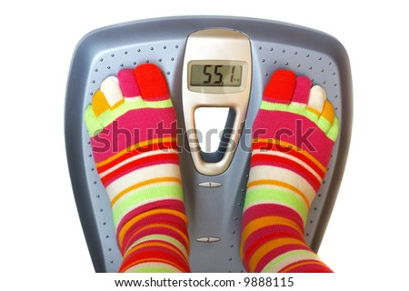 Feet in socks on a scale