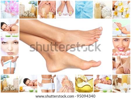 Feet massage. Woman getting spa massage. Body care collage.