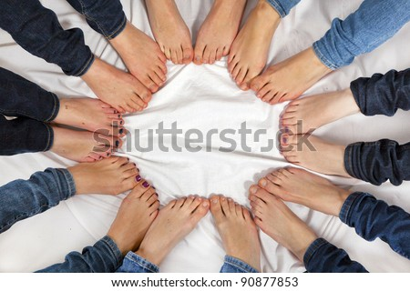 feet of girls form a circle