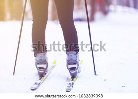 feet on cross-country skiing #1032839398