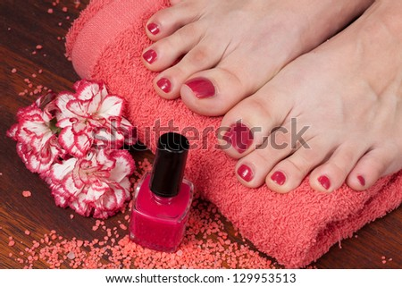 Feet preparation of treatments in the spa salon