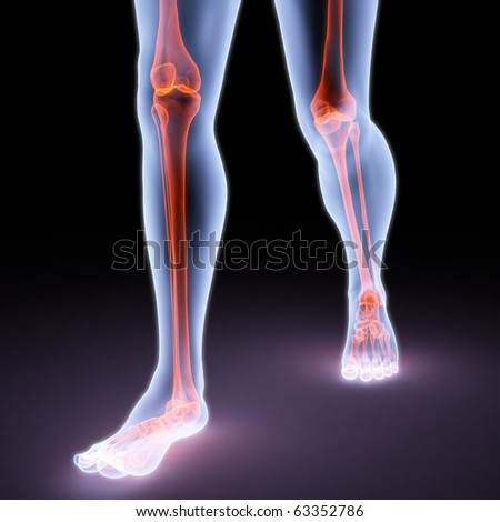 feet walking person under X-rays. bones are highlighted in red.