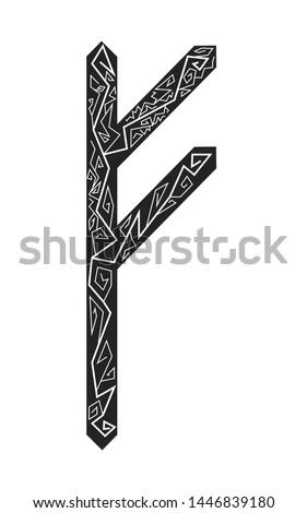 Fehu rune. Ancient Scandinavian runes. Runes senior futarka. Magic, ceremonies, religious symbols. Predictions and amulets.