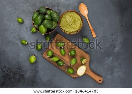 Feijoa fruits and feijoa smoothie