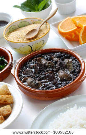 feijoada, black beans and meat stew, brazilian cuisine