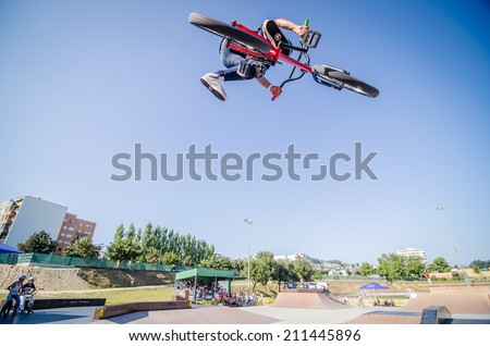 FELGUEIRAS, PORTUGAL - AUGUST 17, 2014: Rodrigo Vicente during the 1st Stage of the DVS BMX Series 2014 by Fuel TV. Stage of the DVS BMX Series 2014 by Fuel TV.