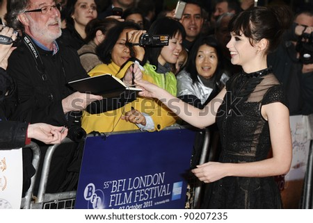 Felicity Jones attends the screening of Like Crazy at the Vue Cinema in Leicester Square shown as part of the London Film Festival 13/10/2011 Picture by: Steve Vas / Featureflash