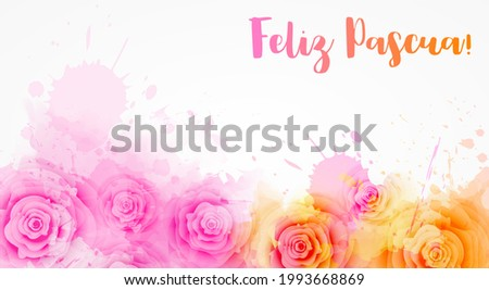Feliz Pascua - Happy Easter in Spanish. Abstract background with watercolor colorful splashes and rose flowers. Easter concept background Foto stock ©