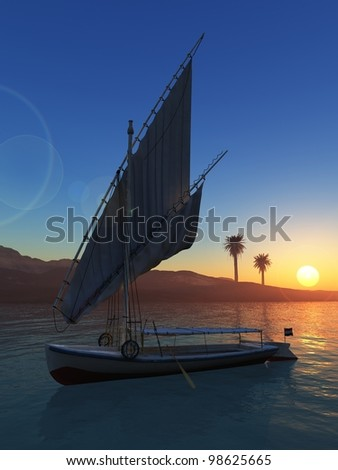 Felluca with folded sail in the Nile river at sunset