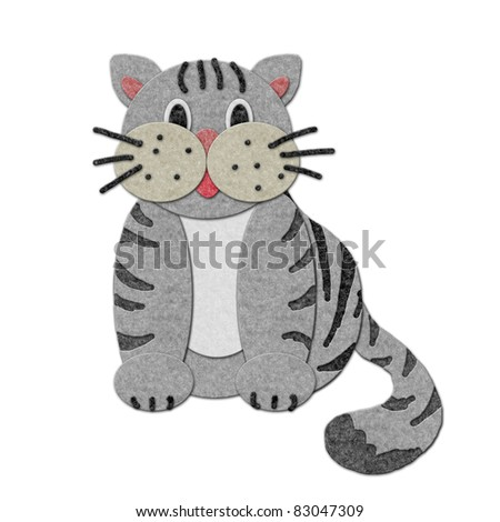 felt cat Illustration. Cutout style isolated over white