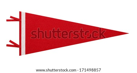 Felt Pennant with Copy Space Isolated on White Background. Stockfoto ©