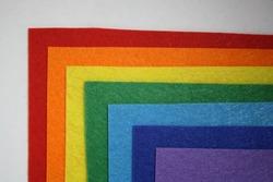 Felt textile material. Felt craft abstract handicraft background for handmade and creative. Rainbow felt