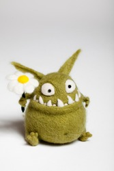Felted Toy Mosters with Flower