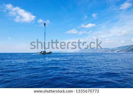 Feluca, typical boat for swordfish fishing, Costa Viola, Bagnara Calabra, district of Reggio Calabria, Calabria, Italy, Europe #1335670772