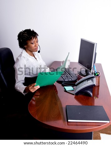 Female african american office worker