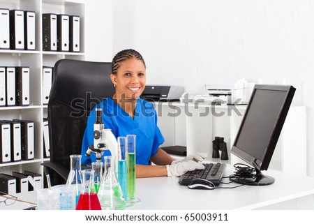 female african american scientist in lab