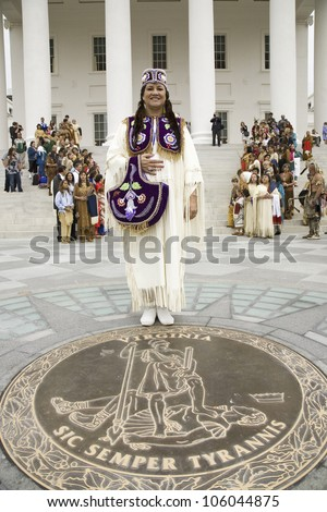 Female American Indian and Powhatan Tribal member, posing in front of Virginia State Capitol in Richmond Virginia during ceremonies for the 400th Anniversary of the Jamestown Settlement on May 3, 2007