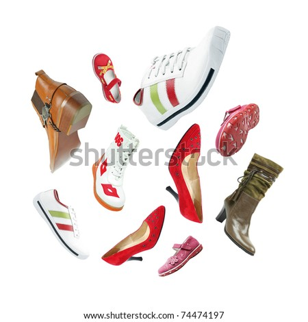 Female and male shoes angled in different positions over white background