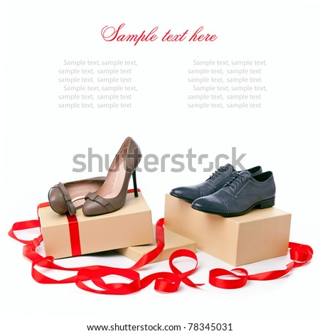 Female and male shoes on boxes with copyspace for your message