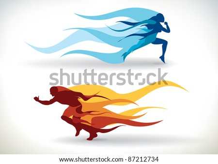 Female and male silhouette running in flames