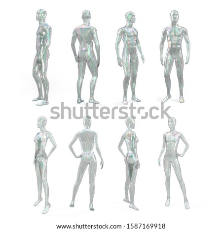 Female and male transparent glass or plastic mannequin. Standing female and male invisible figure. Woman and man shaped soap bubble. Side, front, back view. Cyberpunk style. 3d illustration.