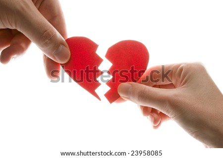 Female and man's hands with broken heart