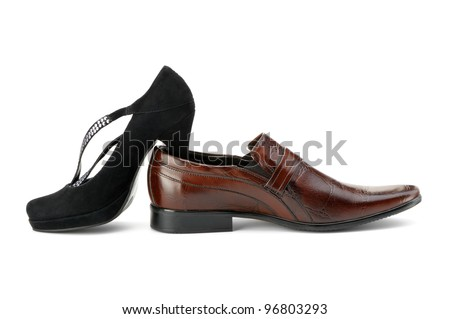 Female and man's shoes. It is isolated on a white background