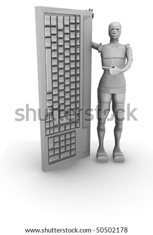 female android with computer keyboard