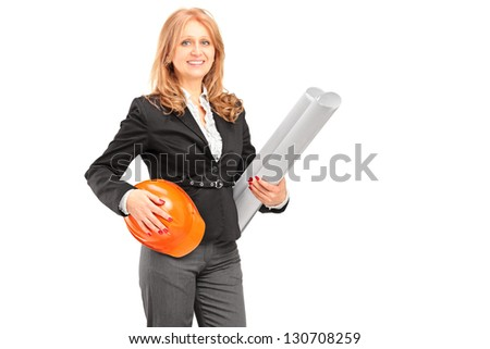 Female architect holding a blueprint and a helmet isolated on white background