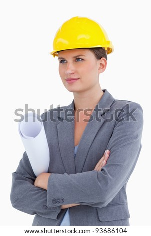 Female architect with plans and helmet on against a white background