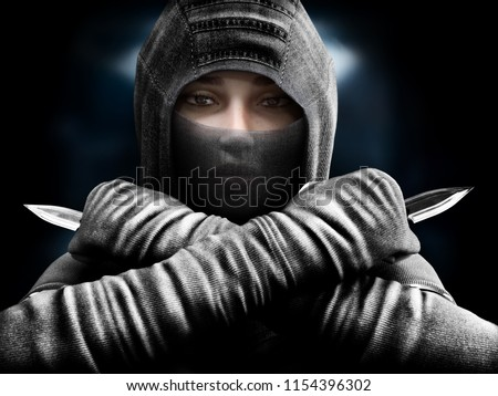 Stock Photo Female assassin slipping from the shadows closing in our her target. 3d rendering