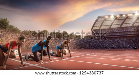 Female athletes sprinting. Women in sport clothes on starting line prepares to run at the running track in professional stadium. Muslim athlete in sports hijab #1254380737