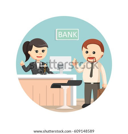 female bank teller serve business man in circle background